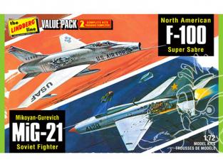 Lindberg maquette AVIONS HL432 Vietnam Era Fighters (F-100 Supersabre & Mig-21BD) 2 avions dans le Pack 1/72