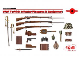 Icm maquette militaire 35699 WWI Turkich Infanterie Armes et équipement (100% nouveaux moules) 1/35