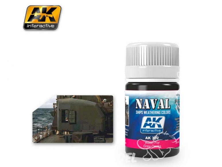 Ak interactive Peinture Enamel AK302 Lavis pour Ponts gris 35ml