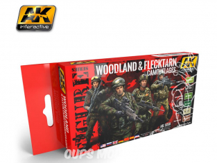 Ak Interactive Set peinture figurines AK3250 Couleurs camouflages Woodland & Flecktarn 6 x 17ml
