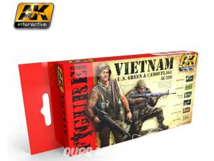 Ak Interactive Set peinture figurines AK3200 Vietnam Verts U.S. & Camouflage 6 x 17ml