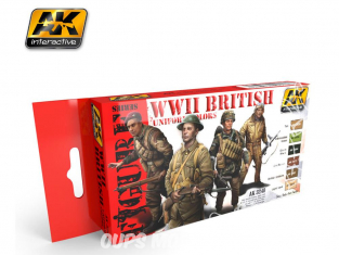 Ak Interactive Set peinture figurines AK3240 Couleurs uniforme Britannique WWII 6 x 17ml