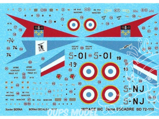 DECALQUES BERNA DECALS BD72-110 Dassault Mirage IIC Rem Escadre 1/72