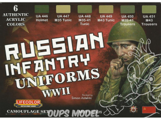 Lifecolor set de peintures cs42 Couleur Uniforme infanterie russe WWII