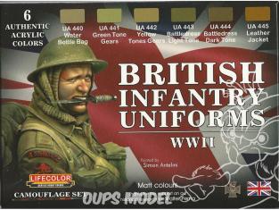 Lifecolor set de peintures cs41 Couleur Uniforme infanterie Anglaise WWII