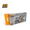 Ak Interactive Set peinture AK563 Bois ancien et patiné Vol. 2 Couleurs froides  6 x 17ml