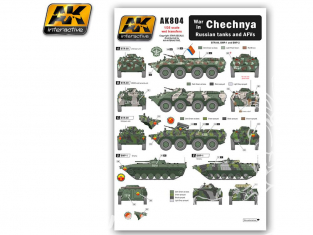 AK interactive ak804 Decalques pour Blindés Russes en Tchétchénie 1/35