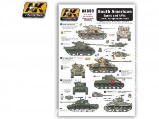 AK interactive ak809 Decalques Amérique du Sud Chars et véhicules blinés - Chilie - Paraguay - Cuba 1/35