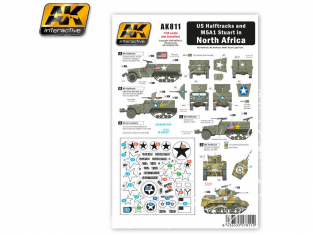 AK interactive ak811 Decalques Halftracks US et M5A1 Stuart en Afrique du Nord WWII 1/35