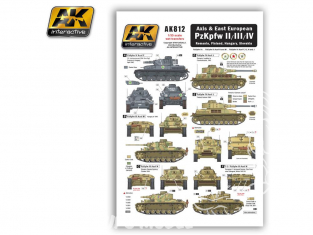 AK interactive ak812 Decalques Axe et Europe de L'est PzKpfw II/III/IV WWII 1/35