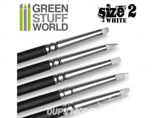 Pinceau Silicone Colour Shapers TAILLE 2 BLANC SOUPLE assortiment de 5 Green Stuff 360260