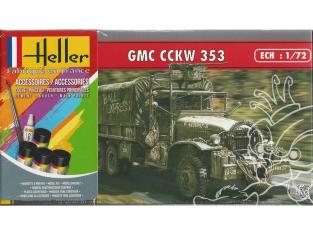 Heller maquette militaire 56996 GMC CCKW 353 Inclus peintures principale colle et pinceau 1/72