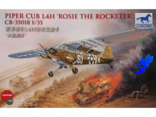 "BRONCO maquette avion CB 35018 Piper Cub L4H ""Rosie the Rocketer"" 1/35"