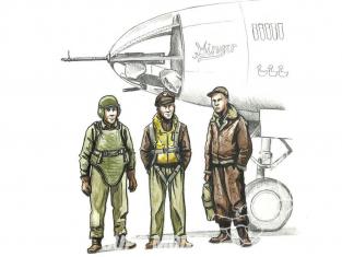 Cmk kit figurine F72339 Pilote de bombardier américain de la seconde guerre mondiale et deux artilleurs 1/72