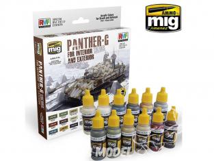 MIG peinture 7174 Set couleurs Panther G pour Intérieur et extérieur 12 x 17ml
