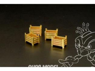 Brengun accessoire diorama BRS144111 récipients en metal (4 pièces) 1/144