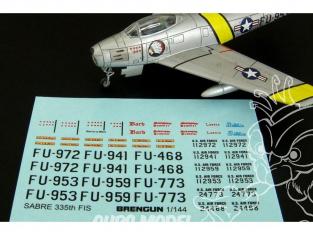 Brengun decalque avion BRS144084 F-86F SABRE 335th FIS decal pour kit trumpeter et Monochrome 1/144