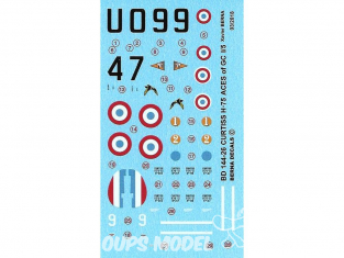 DECALQUES BERNA DECALS BD144-26 Curtiss H-75 ACES of GC 1/5 1/144
