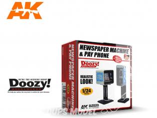 Ak Interactive Doozy DZ020 Set Machine à Journaux et cabine téléphonique 1/24