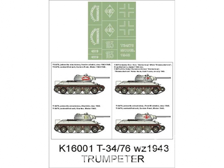Montex Super Mask K16001 T-34/76 1943 Trumpeter 1/16