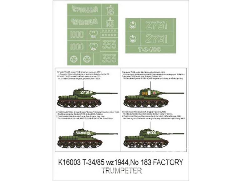 Montex Super Mask K16003 T-34/85 1944 No 183 Factory Trumpeter 1/16