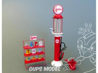 Plus Model Diorama 511 Pompe a essence et stand de bidons d'huile  en resine et photodecoupe 1/35