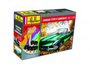Heller maquette voiture 56719 Jaguar Type E cabriolet Inclus peintures principale colle et pinceau 1/24