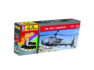 HELLER maquette HELICO 50486 SA 342L Gazelle Inclus peintures principale colle et pinceau 1/72