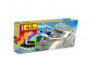 HELLER maquette HELICO 56488 Eurocoptere AS 350 B3 Everest Inclus peintures principale colle et pinceau 1/72