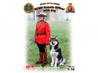 Icm maquette voiture 16008 Gendarmerie royale du Canada Officier féminin avec chien 1/16