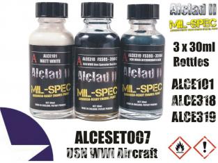 Peinture enamel Alclad II Mil-Spec ALCESET007 Utilisation a l'aérographe Set avions USN WWI 30ml
