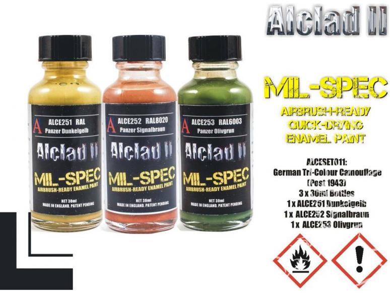 Peinture enamel Alclad II Mil-Spec ALCESET011 Utilisation a l'aérographe Set camouflage allemant post 1943 30ml