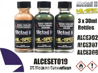Peinture enamel Alclad II Mil-Spec ALCESET019 Utilisation a l'aérographe Set camouflage U.S. vietnam 30ml