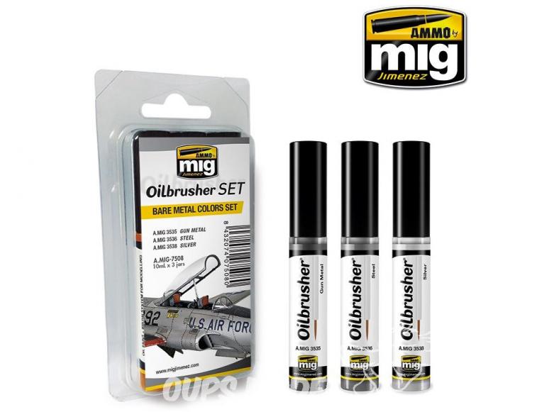 MIG Oilbrusher Set 7508 Set Metal nu - Bare metal Peinture a l'huile avec applicateur
