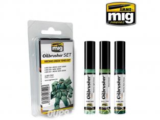 MIG Oilbrusher Set 7509 Set tons verts Mechas Peinture a l'huile avec applicateur