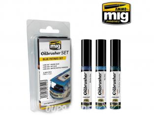 MIG Oilbrusher Set 7510 Set patine bleu Peinture a l'huile avec applicateur