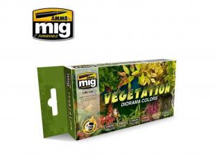 MIG peinture 7176 Set couleurs Vegetation Diorama 6 x 17ml