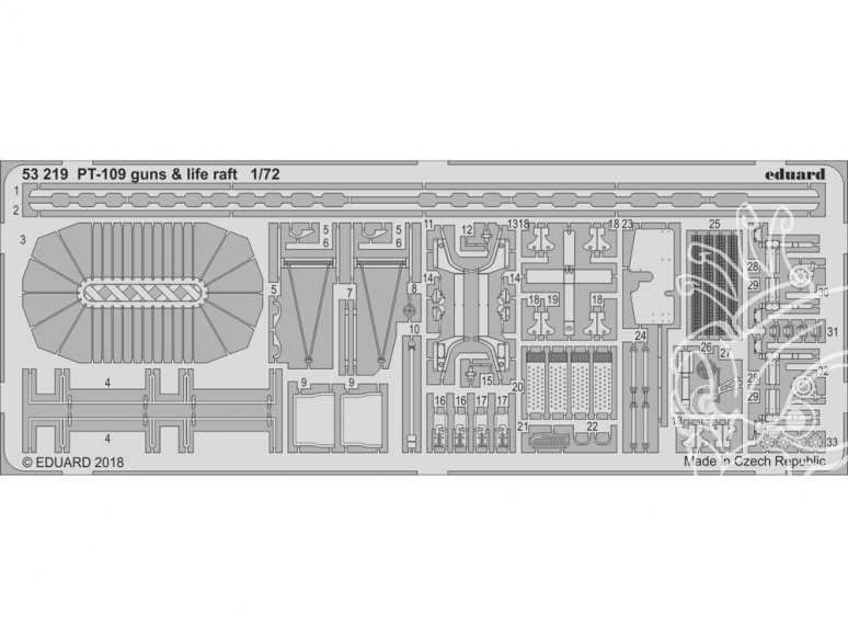 Eduard photodecoupe 53219 PT-109 Patrol Torpedo Boat Guns & Canots de sauvetage Revell 1/72