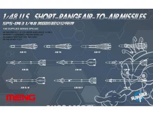 U.S. Missiles Air Air a courte portée Meng 1/48 maquettes avions SPS-043