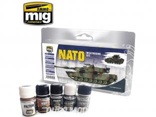 MIG peinture 7446 Set de Weathering pour OTAN - NATO 5 x 35ml