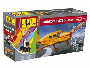 Heller maquette avion 56208 CAUDRON C-635 Simoun inclus peintures principale colle et pinceau 1/72