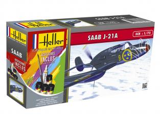 Heller maquette avion 56261 SAAB J21A inclus peintures principale colle et pinceau 1/72