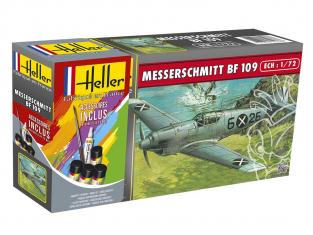 Heller maquette avion 56236 Messerschmitt Bf109 inclus peintures principale colle et pinceau 1/72