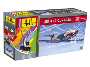 Heller maquette avion 56201 MD450 Ouragan inclus peintures principale colle et pinceau 1/72