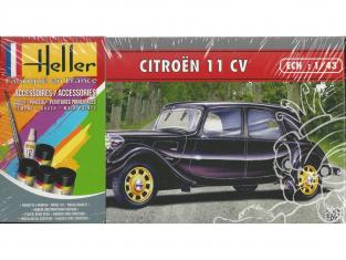 HELLER maquette voiture 56159 Citroen Traction 11cv inclus peintures principale colle et pinceau 1/43