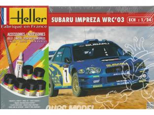 Heller maquette voiture 56750 Subaru Impreza WRC 2003 inclus peintures principale colle et pinceau 1/24