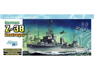 DRAGON maquette bateau 7134 Destroyer Allemand Z-38 1/700