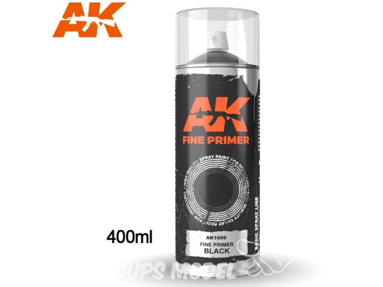 Ak Spray AK1009 Bombe d'appret fin noir 400ml Fine Primer