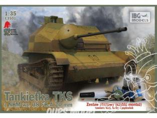 IBG maquette militaire 3501 TKS Tankette avec canon de 20mm avec peintures Hataka pinceau et colle 1/35