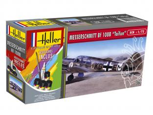 HELLER maquette avion 56231 Messerschmitt BF108B inclus peintures principale colle et pinceau 1/72